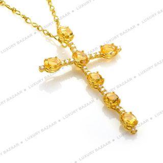 18K Yellow Gold Diamond and Citrine Crucifix Pendant Necklace