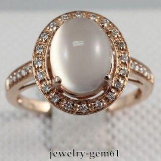Oval 10*8MM Solid 14Kt Rose Gold VS Diamond Moonstone Engagement Ring