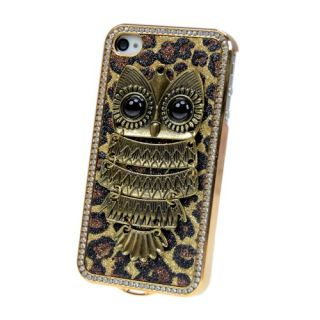 Luxury Bling Diamond Leopard Chrome Hard Case Cover For iPhone 4 4S 4G