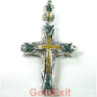Gold Canary Yellow Blue Diamond Cross Pendant Religious Charm