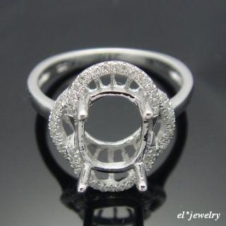 14k White Gold Diamond Semi Mount Engagement Rings Setting Oval 7x9mm