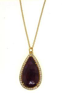 WOW 18K Gold Ruby Diamond Rain Drop Necklace