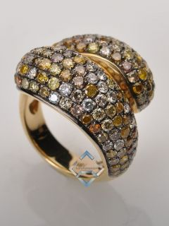 18K Yellow Gold Pave Colored Diamond Twisted Dome Ring