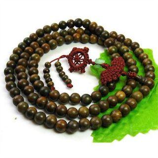Green Sandalwood Prayer Beads Dharma Wheel Mala Necklace 40
