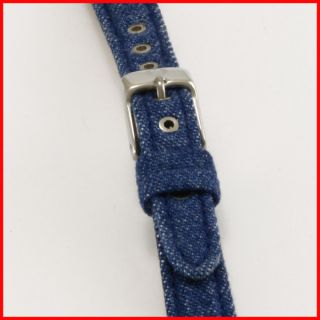 Michele Blue Jean Denim Upper Silver Buckle Leather Watch Strap Band