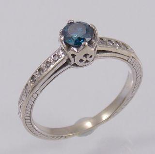 Gorgeous 18K White Gold Blue Diamond Ring Size 6 75 25cttw