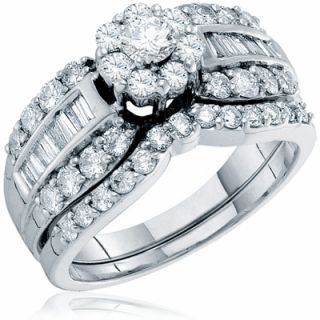 Diamond Multi Stone Engagement Ring Wedding Band Bridal Set Ladies14k