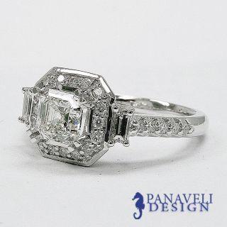 Antique Deco 1 40 Ct Asscher Cut Diamond Engagement Ring 14k White