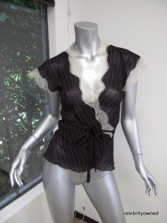 Diane Von Furstenberg Black Hot Pink Lace Tabby Top 2