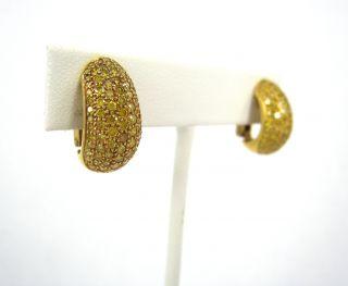 Natural Fancy Intense Yellow Diamond 18K Gold Huggie Earrings