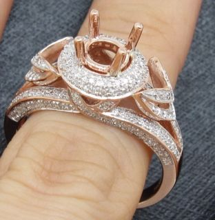 0mm Round Solid 14kt Rose Gold Natural Diamond Semi Mount Ring