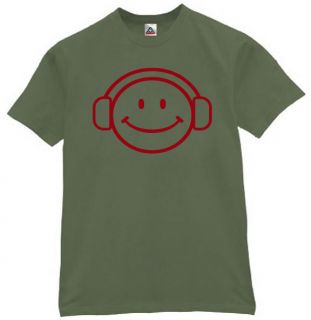 Happy Deejay Face T Shirt Music Funny Tee  Olive XL