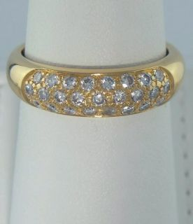 YELLOW GOLD 1 2ct ROUND DIAMOND PAVE DOME WEDDING BAND FINE RING 5mm