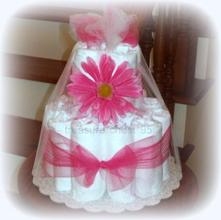 Pink Gerber Daisy Diaper Cake Baby Shower Centerpiece Girl Decoration