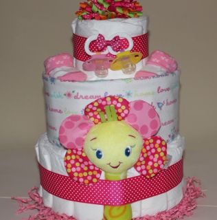 Custom DIAPER CAKE Girl Pink Neutral gift baby shower diaper cake