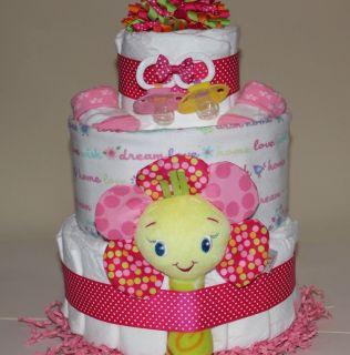 Custom DIAPER CAKE Girl Pink Neutral gift baby shower diaper cake