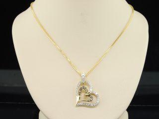 ladies yellow gold champagne brown heart shaped diamond pendant charm