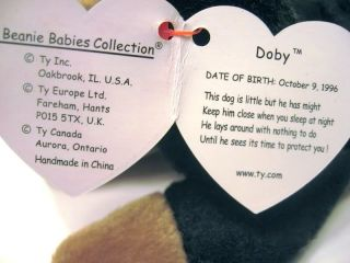 New Ty Beanie Baby Doby Dog Doberman Pinscher 5th Generation Retired