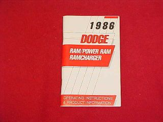 1986 Dodge RAM Truck 150 250 350 Ramcharger Owners Manual Service