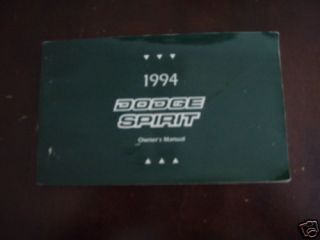 1994 Dodge Spirit Original Drivers Owners Manual 94 WOW