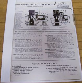 Stromberg Carb Carburetor Manual Dodge Truck 1933 1940