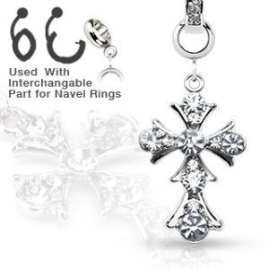 316L Surgical Steel Navel Belly Button Dermal Ring Jewelry Charm Cross