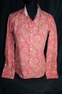 Liz Claiborne 4 Paisley Peach Coral Top Blouse Shirt