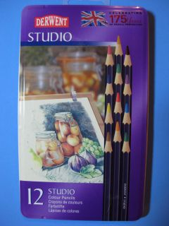 DERWENT STUDIO COLOR PENCILS 12 PKG FINE LINES DETAILS 32196 NEW