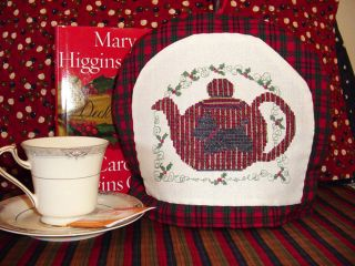 Black Scottie Dog Cross Stitch Pattern Christmas Red Plaid Teapot Tea