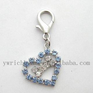 2pcs Dog Charm Pet Charm Pet Jewelry Blue Heart Crystal Bone Charm