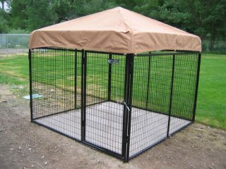 8X8X6H Dog Run w Cover Floor Kennel Cage Crate
