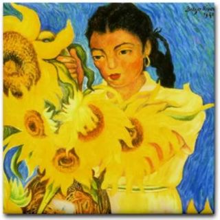 Diego Rivera Mexican Ceramic Art Tile Sunflower Garden