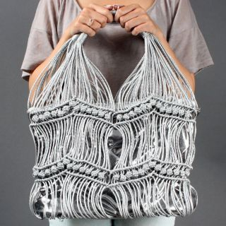 Silver Shiny Woven Women Unique Beach Slouch Summer Handbag
