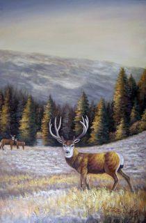 Deer Buck Doe Fawn Mountain Meadow Pine Tree Frosty Landscape Oil