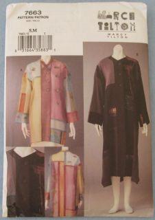 Marcy Tilton Designer Jacket Coat s M 7663 Vogue Sewing Pattern