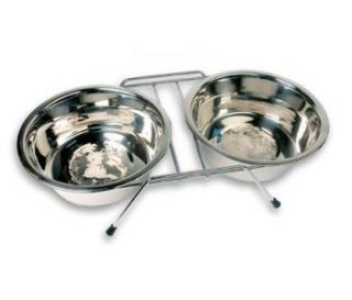 New Stainless Steel Double Bowl Set Small to Medium Dog or Pet Rack
