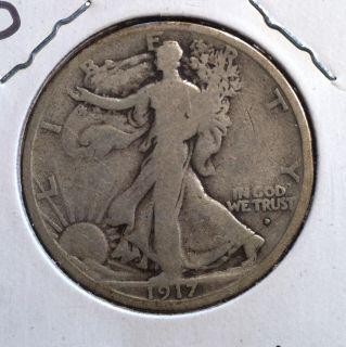 1917 D Silver Walking Liberty Half Dollar Obverse Mint Mark Very Good