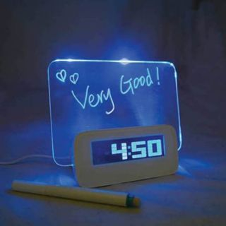 Fluorescent Message Board Blue LED Digital Alarm Clock 4 Port USB Hub