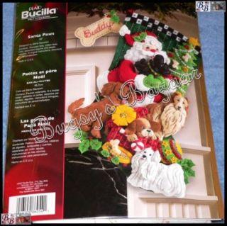 Bucilla Santa Paws w Dogs Felt Christmas Stocking Kit