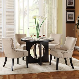New Home Decor Dining Room Furniture 5 Piece Beige Round Table Chairs