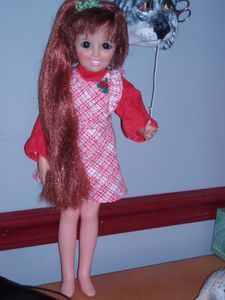 1960s Crissy Doll C 1969 Ideal Toys Red Hair w Original Dress