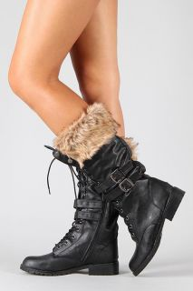 Womens Black Fur Lace Up Military Combat Riding Motorcycle Boot Lug 15