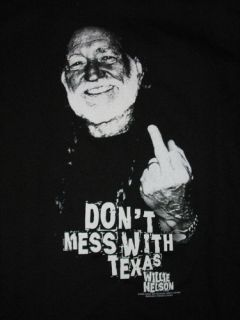 Willie Nelson DonT Mess with Texas Middle Finger Photo T Shirt Brand