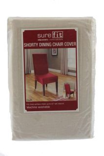 Solid Ivory Cotton Shorty Dining Table Chair Covers One Size