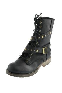 Dirty Laundry New Z Riveted Black Studded Buckle Ankle Combat Boots