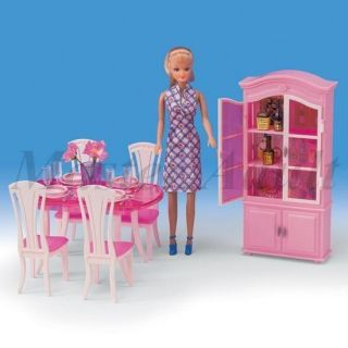 Dinning Set for Barbie Dinning Table Chairs Dish Cabinet Accessories