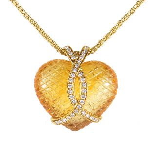 18K Yellow Gold Citrine and Diamond Heart Pendant Necklace