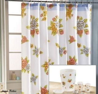 Flower Shower Curtain Bathroom Accessory Soap Dish Complete Bath Set
