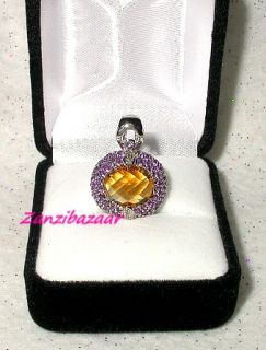 FANCY 14K WHITE GOLD CITRINE, ENCRUSTED AMETHYST & DIAMOND PENDANT