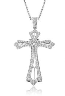 45Ctw Round Cut Diamond Jewelry 14Kt White Gold Cross Pendant Necklace